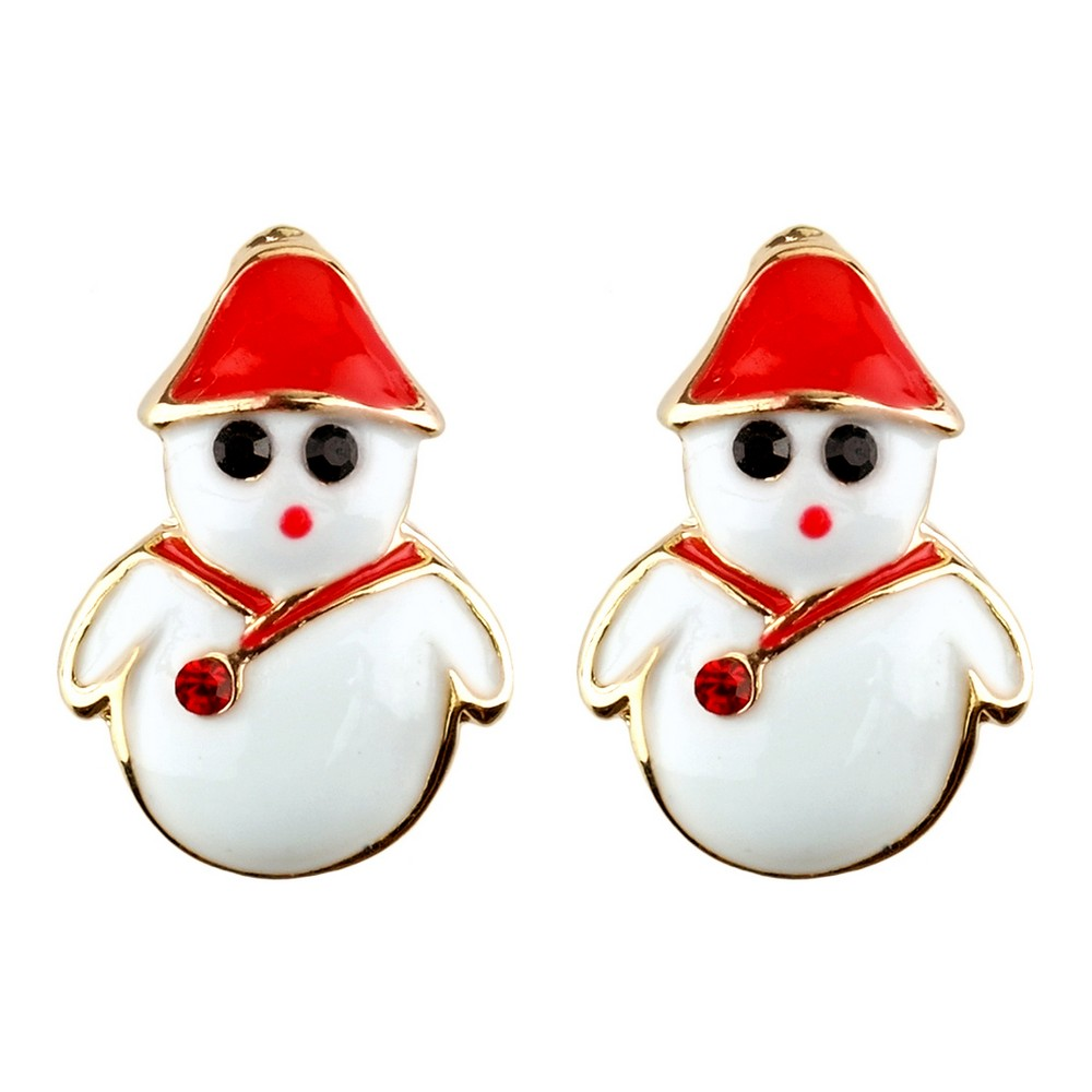 Stud Earring Christmas Small Snowman Made With Crystal Glass & Enamel by JOE COOL