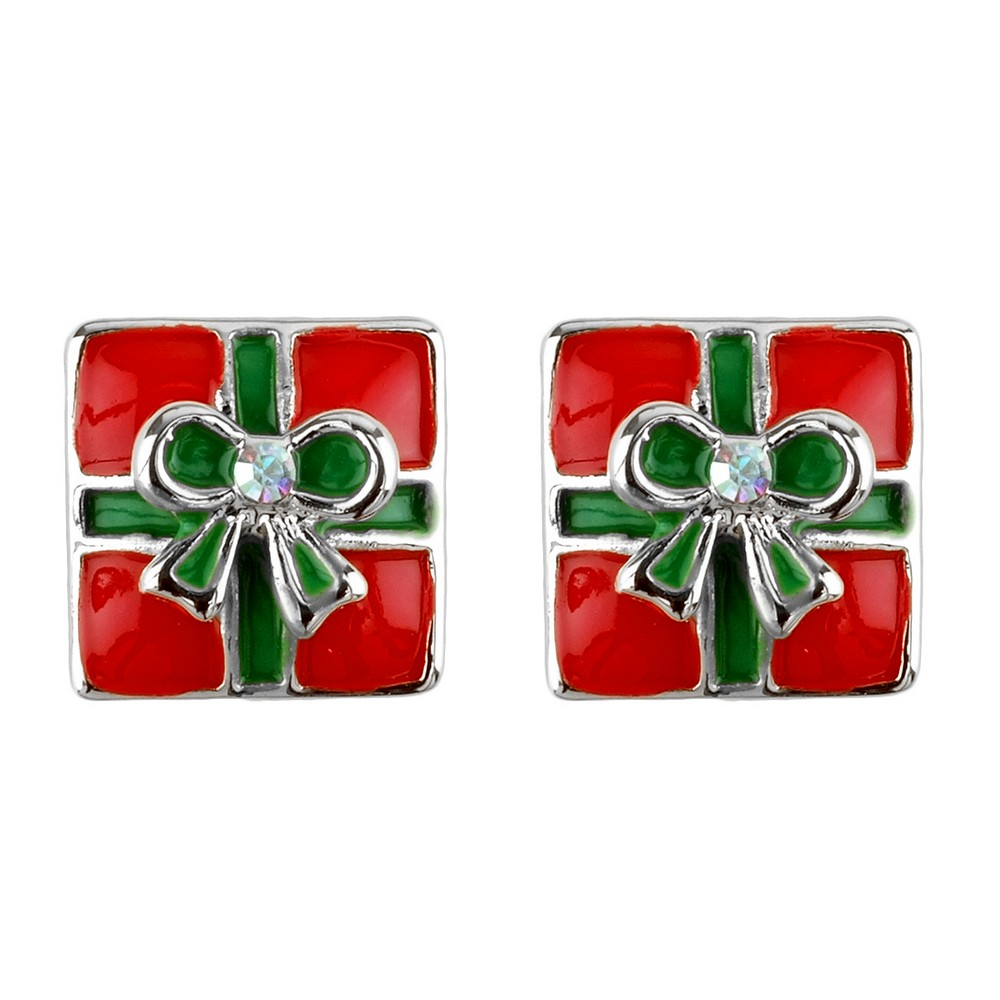 Stud Earring Christmas Small Gift Box Made With Crystal Glass & Enamel by JOE COOL