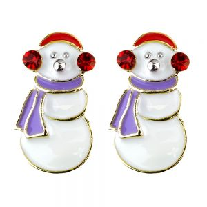 Stud Earring Christmas Large Snowman Made With Crystal Glass & Enamel by JOE COOL