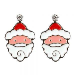 Stud Earring Christmas Large Santa Made With Crystal Glass & Enamel by JOE COOL