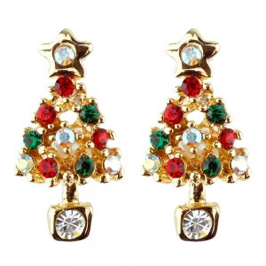 Stud Earring Christmas Large Tree Made With Crystal Glass & Enamel by JOE COOL
