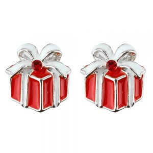Stud Earring Christmas Large Gift Box Made With Crystal Glass & Enamel by JOE COOL