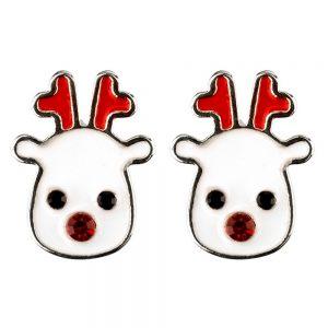 Stud Earring Christmas Large Reindeer Made With Crystal Glass & Enamel by JOE COOL