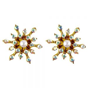 Stud Earring Christmas Large Snowflake Made With Crystal Glass & Enamel by JOE COOL
