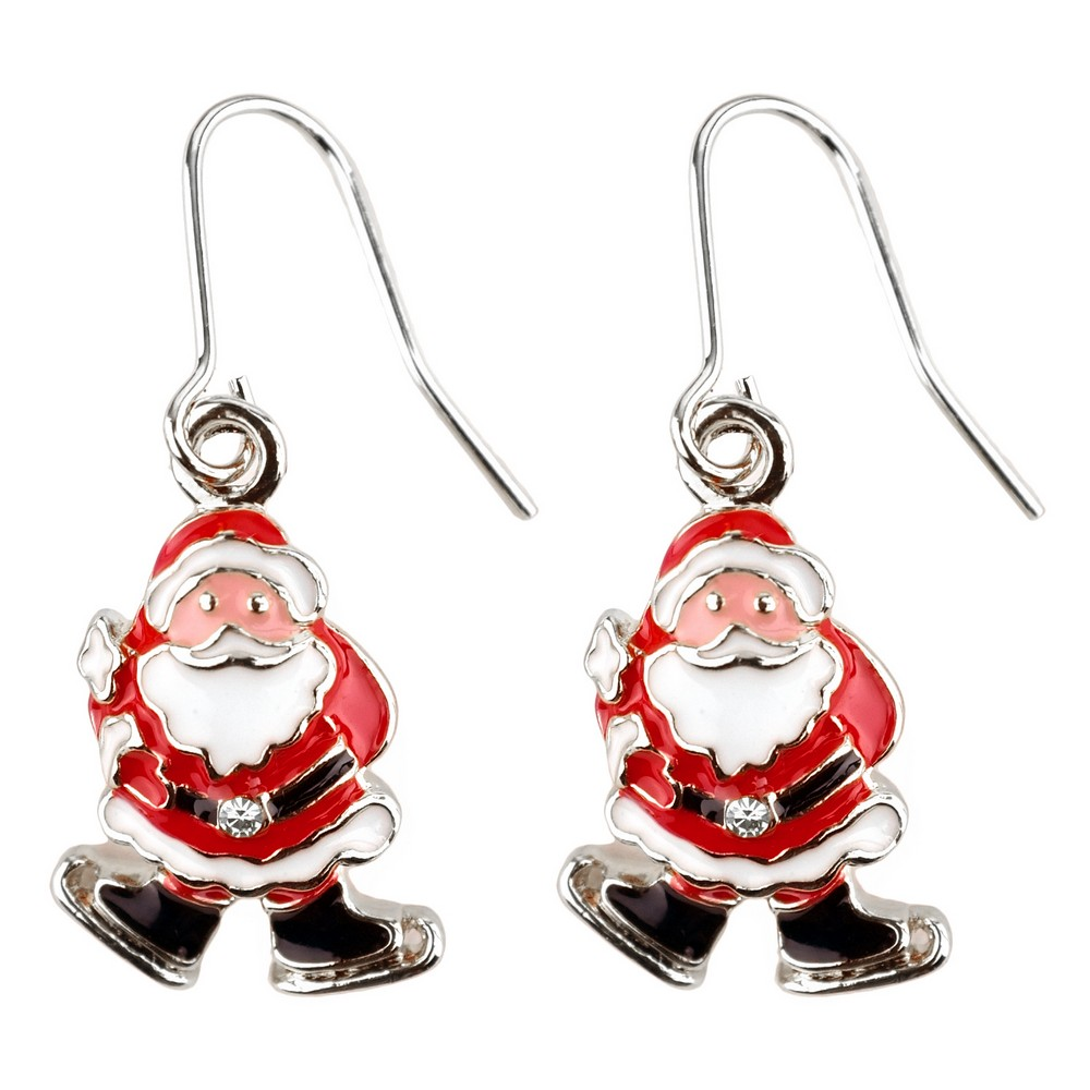 Drop Earring Christmas Santa Made With Crystal Glass & Enamel by JOE COOL