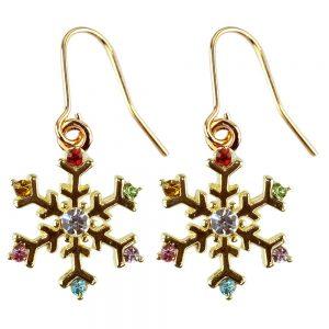 Drop Earring Christmas Snowflake Made With Crystal Glass & Enamel by JOE COOL