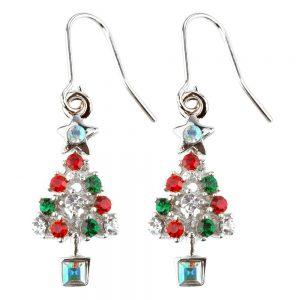Drop Earring Christmas Tree Made With Crystal Glass & Enamel by JOE COOL