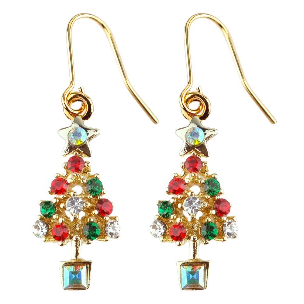 Drop Earring Christmas Tree Made With Crystal Glass & Enamel by JOE COOL