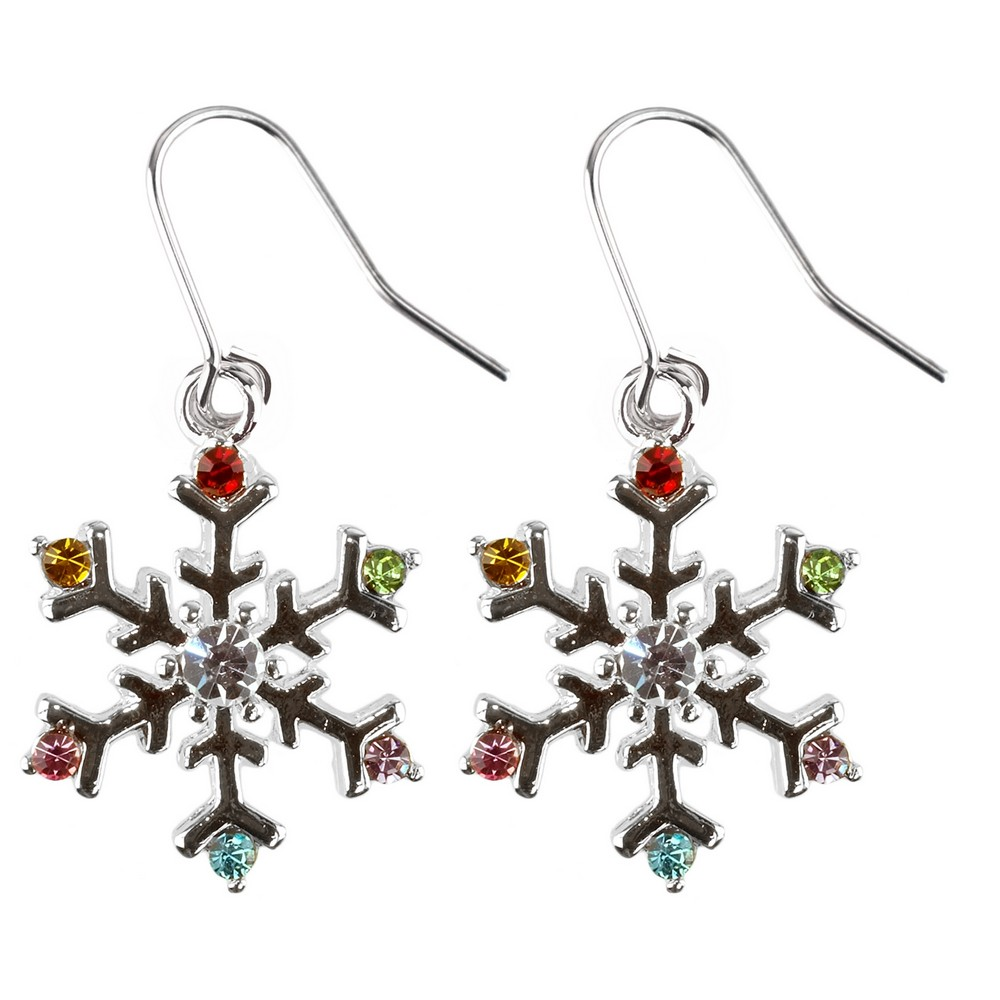 Drop Earring Christmas Snowflake Made With Crystal Glass & Enamel by JOE COOL