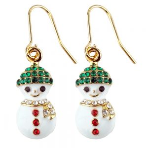 Drop Earring Christmas Snowman Made With Crystal Glass & Enamel by JOE COOL