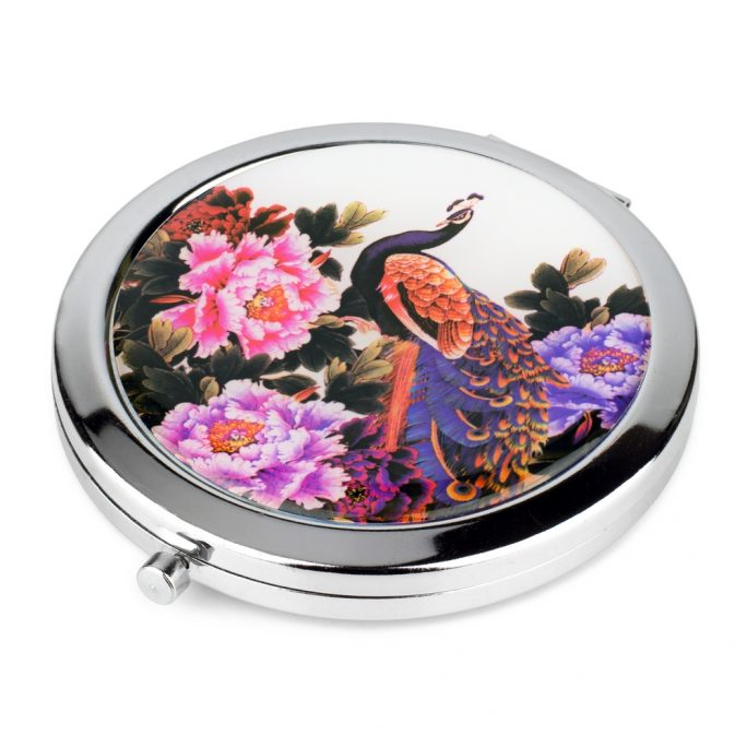 Compact Mirror Two Peacocks Background Made With Zinc Alloy by JOE COOL