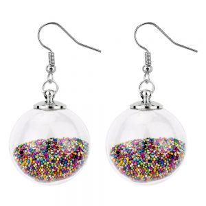 Drop Earring Rainbow Stardust Flying Sphere Made With Iron & Glass by JOE COOL