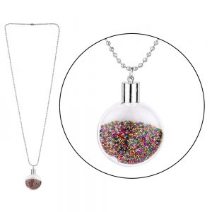Necklace With A Pendant Rainbow Stardust Vial Made With Iron & Glass by JOE COOL