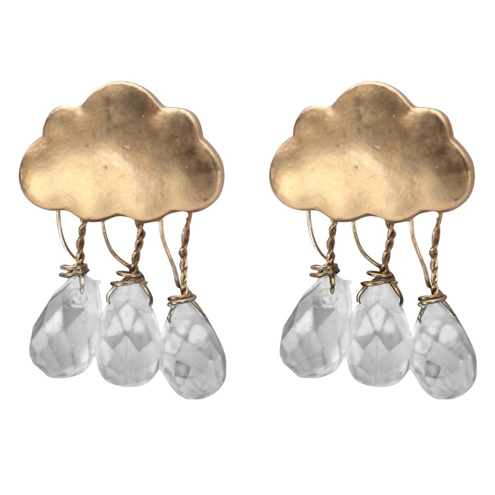 Stud Earring Raindrop Cloud Made With Tin Alloy by JOE COOL