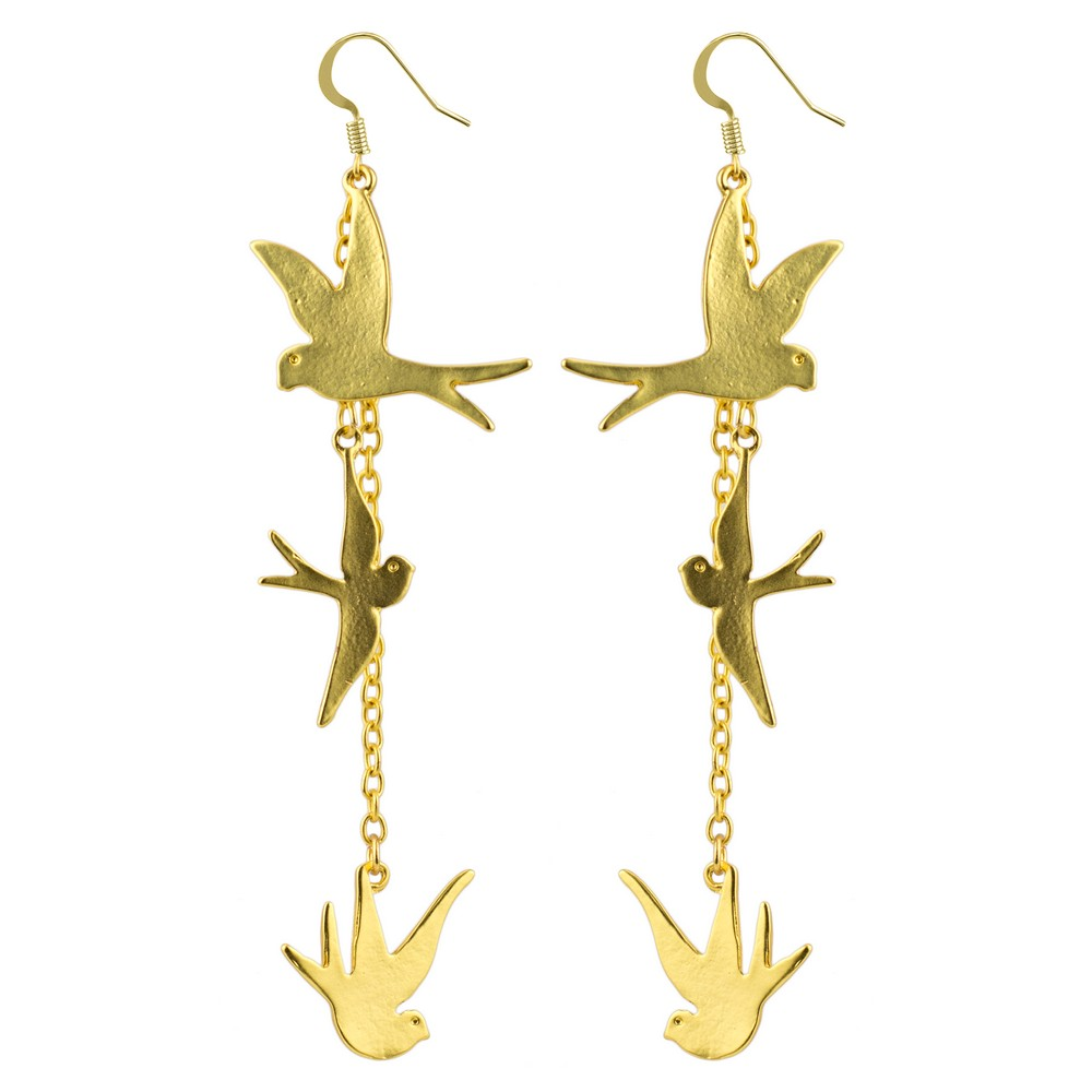 Drop Earring Three Flying Swallows Made With Tin Alloy by JOE COOL