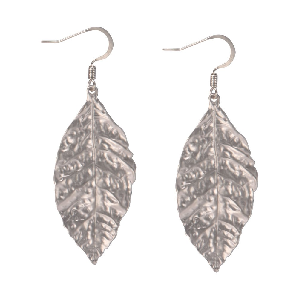Drop Earring Autumn Leaf Hammered Made With Tin Alloy by JOE COOL