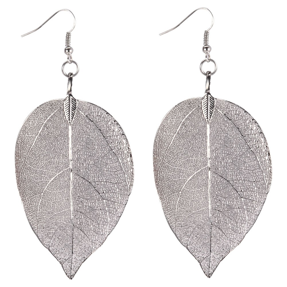 Drop Earring Delicate Leaf Made With Iron by JOE COOL