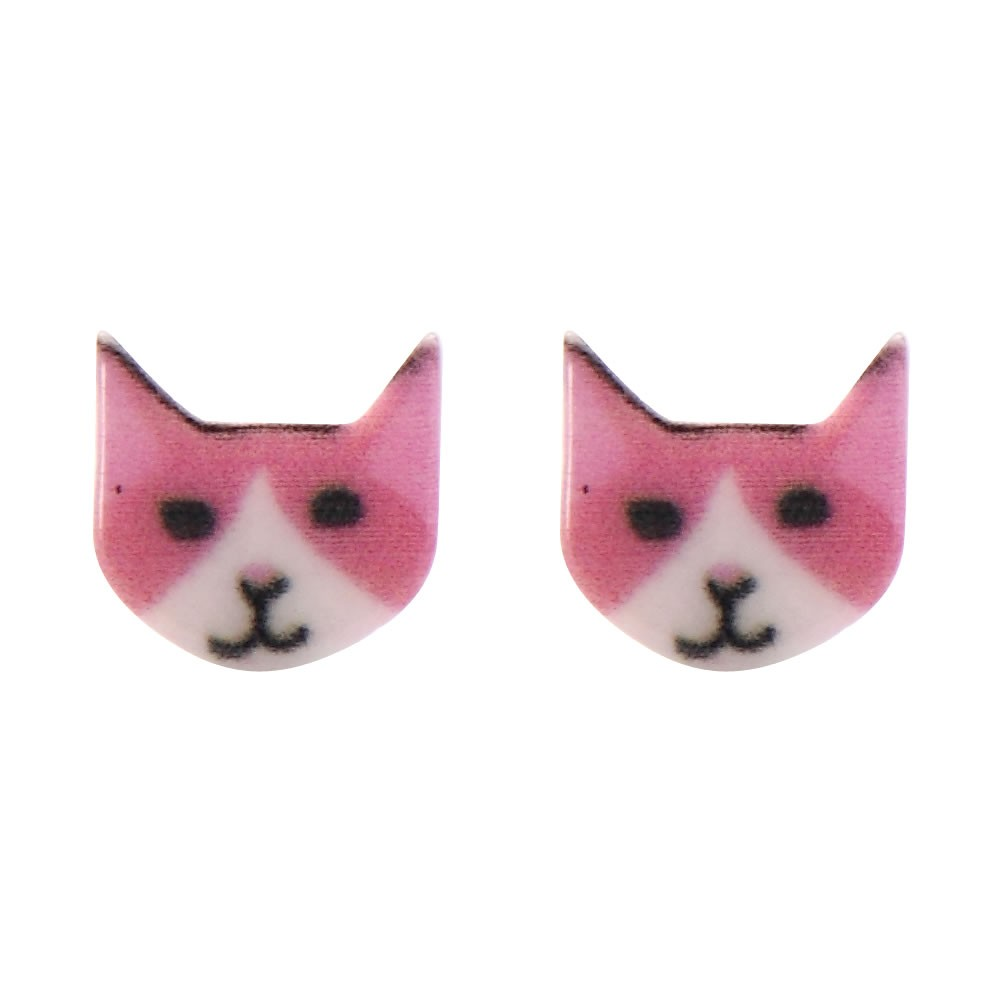 Stud Earring Crafty Cat Face Made With Zinc Alloy & Iron by JOE COOL