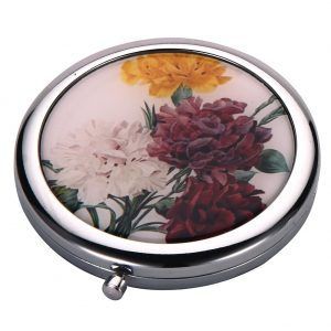 Compact Mirror Flora Botanica Carnation Made With Tin Alloy by JOE COOL