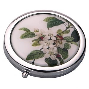 Compact Mirror Flora Botanica Apple Tree Blossom Made With Tin Alloy by JOE COOL