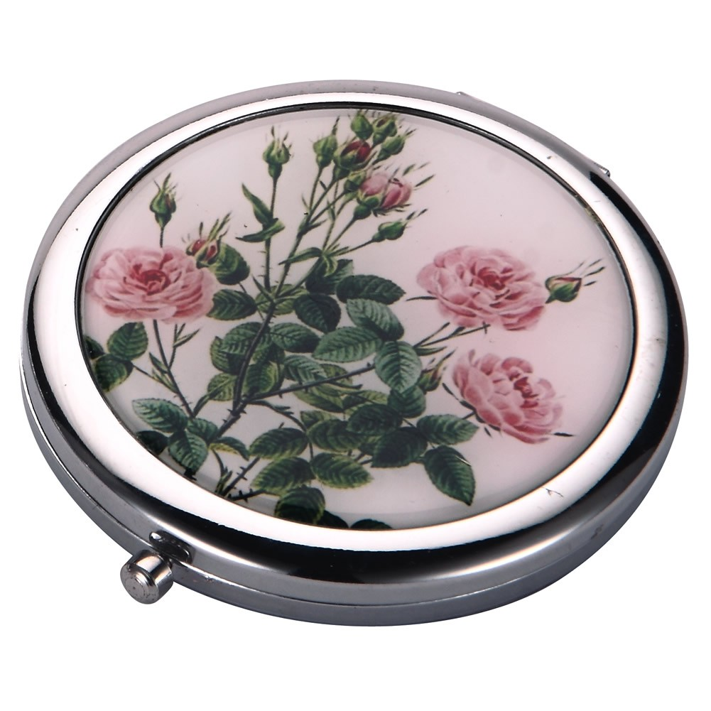 Compact Mirror Flora Botanica Rose Made With Tin Alloy by JOE COOL