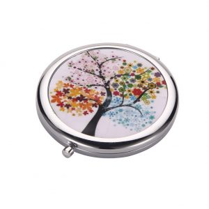 Compact Mirror Tree Of Life Made With Tin Alloy by JOE COOL