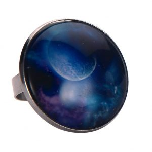 Ring Universe Moon Made With Tin Alloy & Glass by JOE COOL