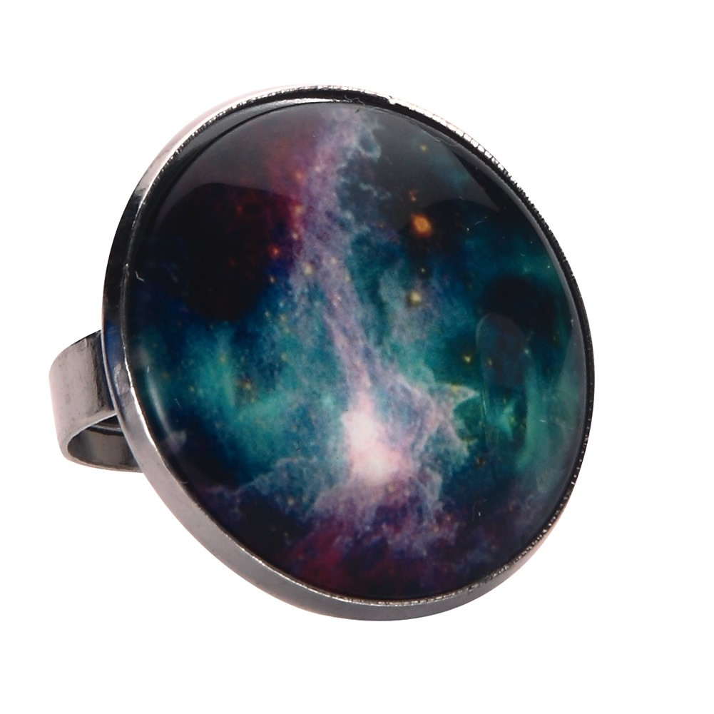 Ring Universe Galaxy Made With Tin Alloy & Glass by JOE COOL