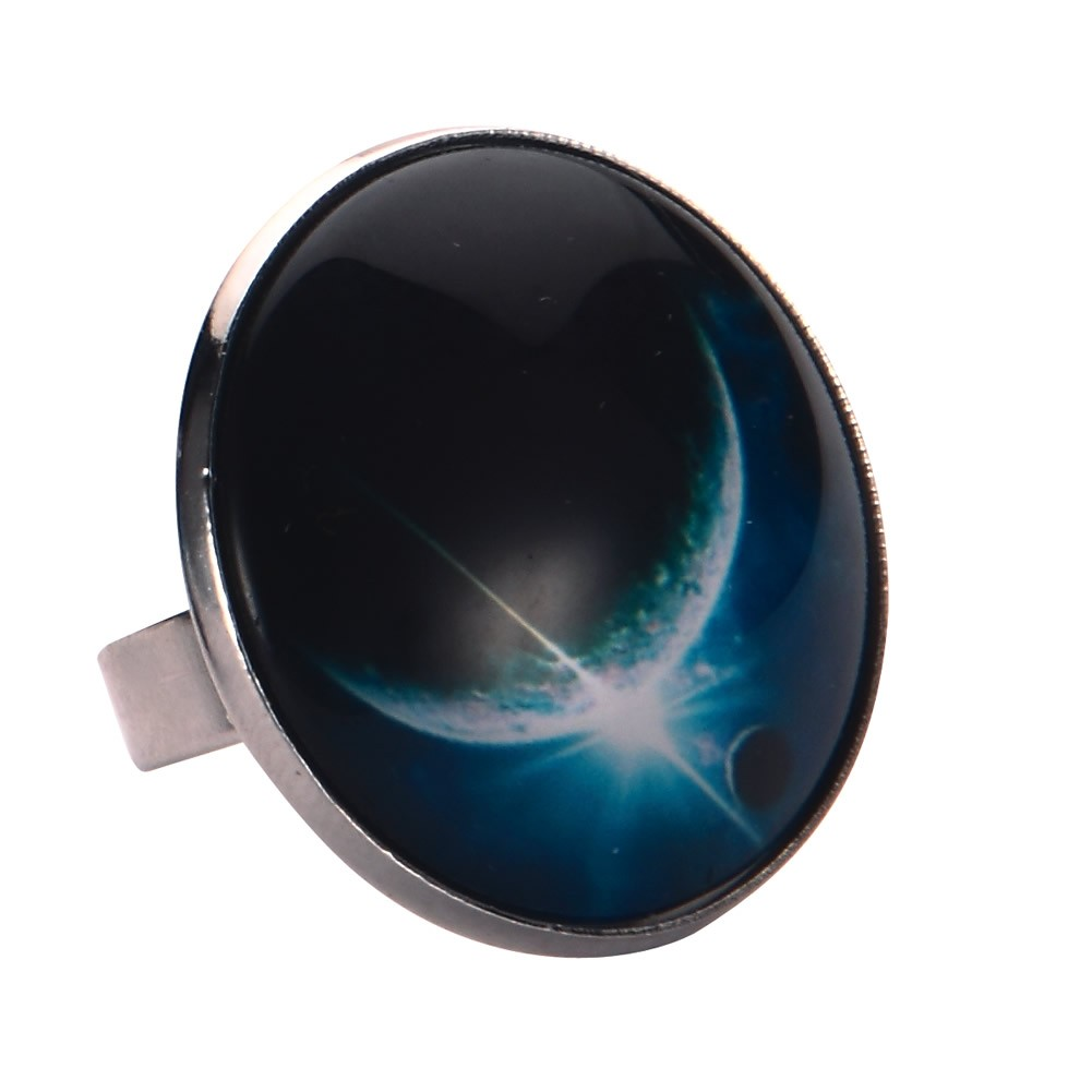 Ring Universe Large Moon Made With Tin Alloy & Glass by JOE COOL