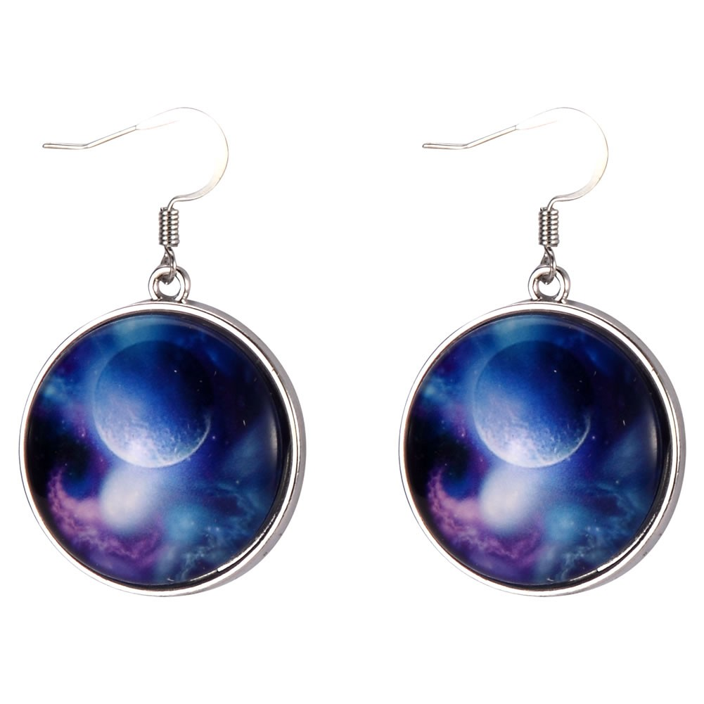 Drop Earring Universe Moon Made With Tin Alloy & Glass by JOE COOL