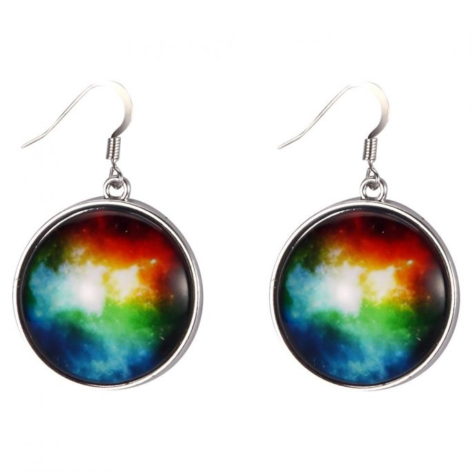 Drop Earring Universe Burst Made With Tin Alloy & Glass by JOE COOL
