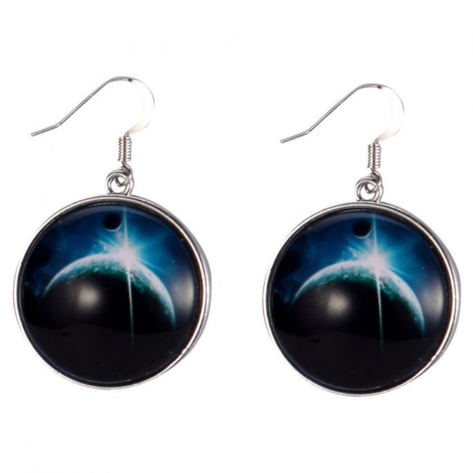 Drop Earring Universe Large Moon Made With Tin Alloy & Glass by JOE COOL