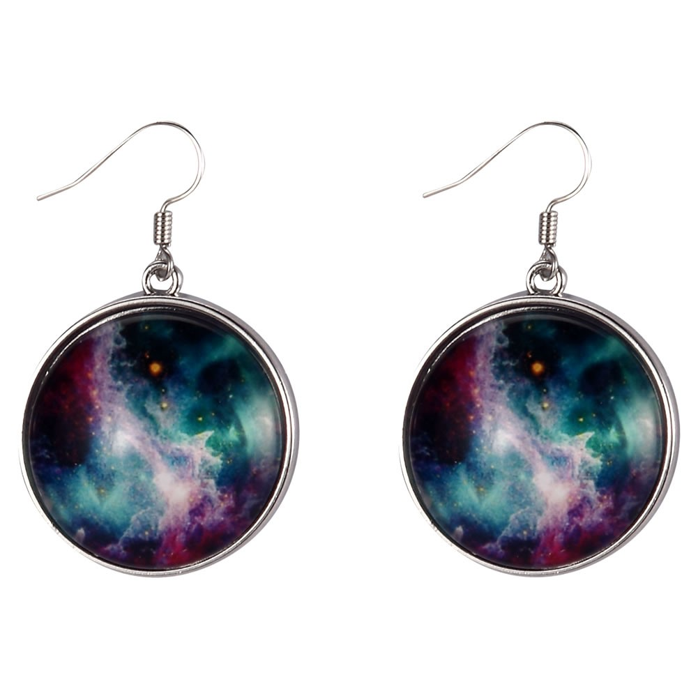Drop Earring Universe Galaxy Made With Tin Alloy & Glass by JOE COOL