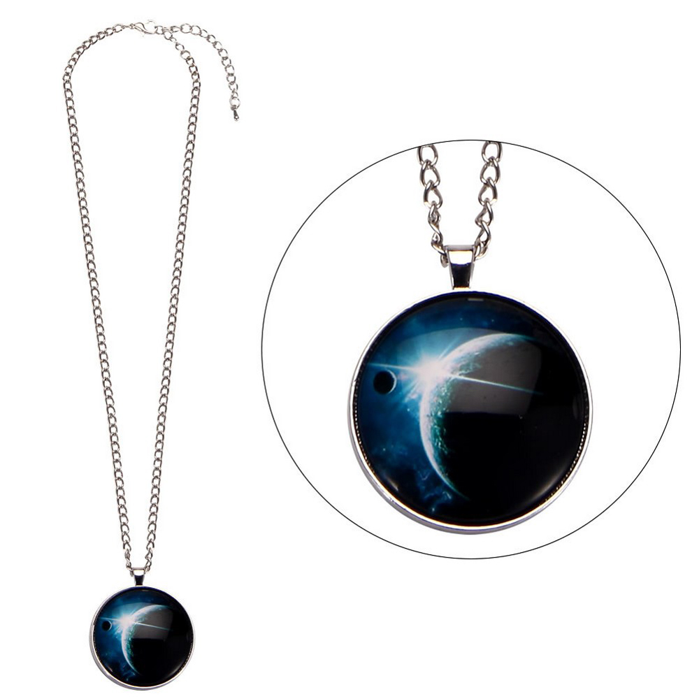 Necklace Universe Large Moon Made With Glass & Tin Alloy by JOE COOL