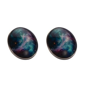 Stud Earring Universe Galaxy Made With Tin Alloy & Glass by JOE COOL
