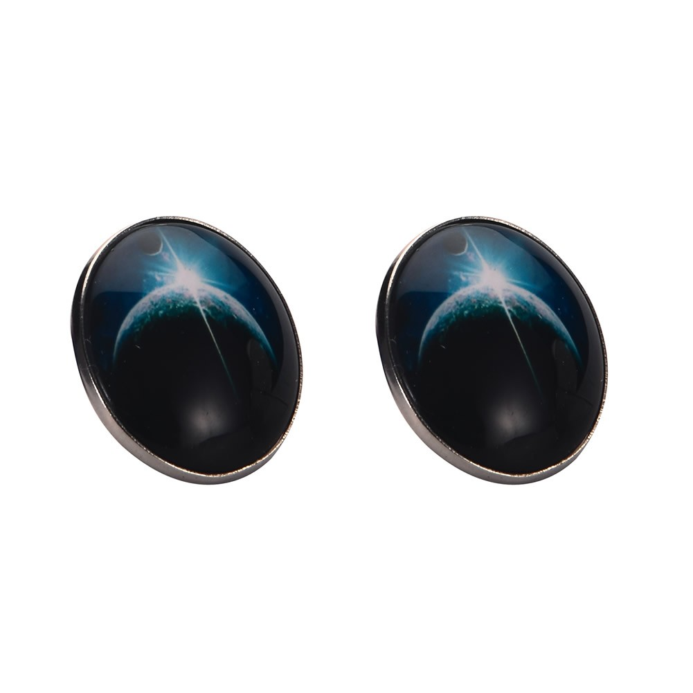 Stud Earring Universe Large Moon Made With Tin Alloy & Glass by JOE COOL