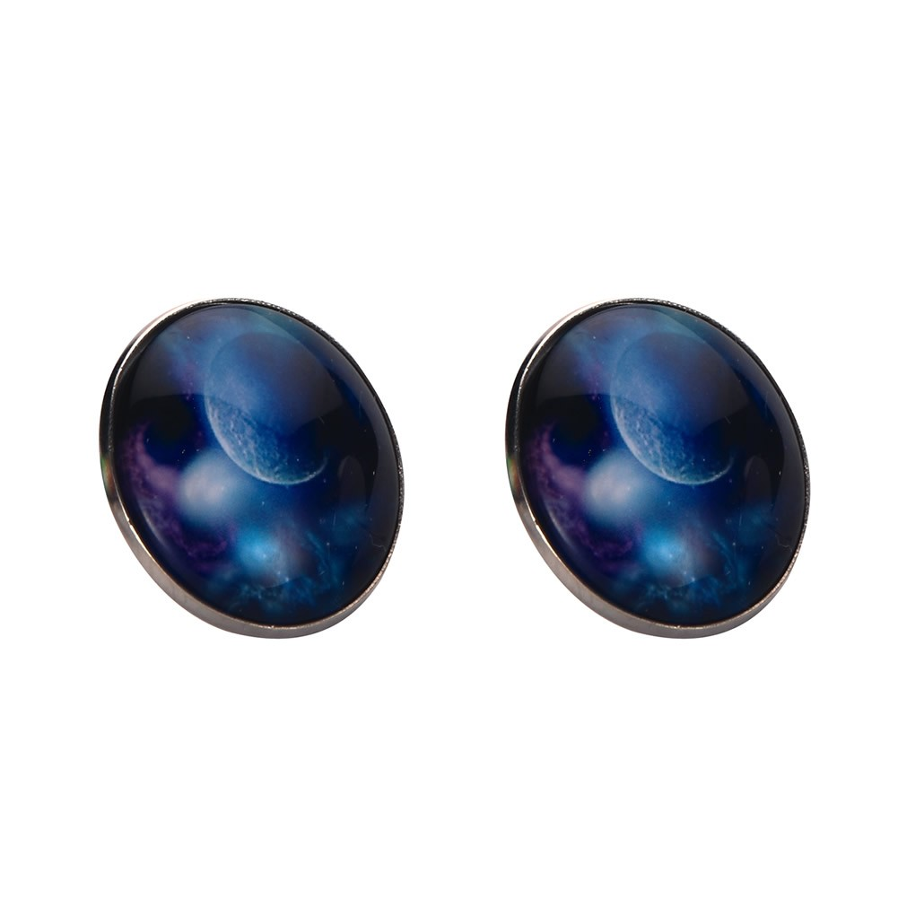 Stud Earring Universe Moon Made With Tin Alloy & Glass by JOE COOL