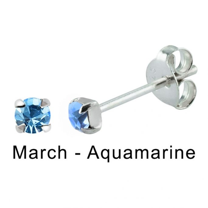 Stud Earring Birthstone In Claw Setting - March Aquamarine Made With 925 Silver & Crystal Glass by JOE COOL