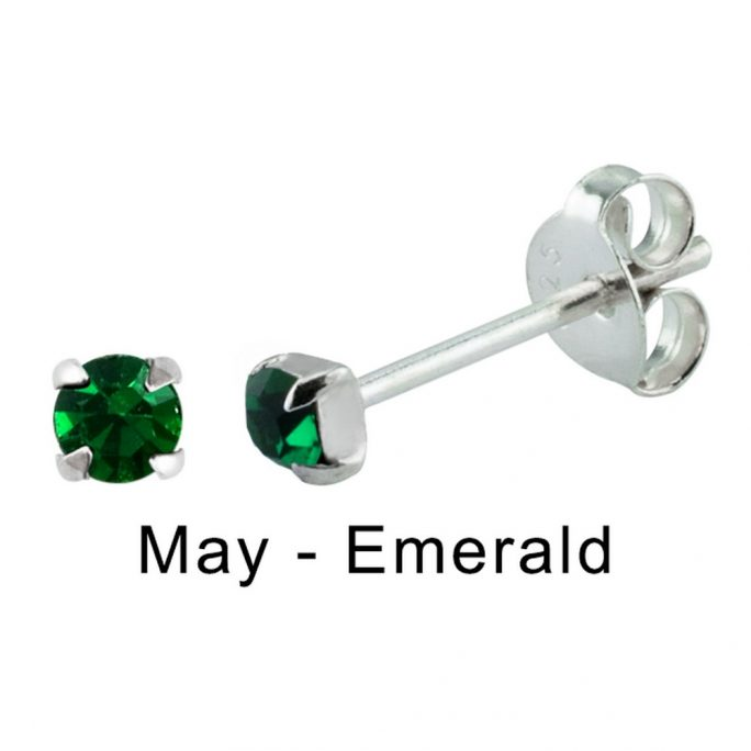 Stud Earring Birthstone In Claw Setting - May Emerald Made With 925 Silver & Crystal Glass by JOE COOL