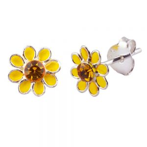 Stud Earring Birthstone Flower November Topaz Made With 925 Silver & Crystal Glass by JOE COOL