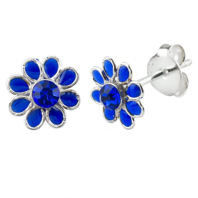 Stud Earring Birthstone Flower September Sapphire Made With 925 Silver & Crystal Glass by JOE COOL