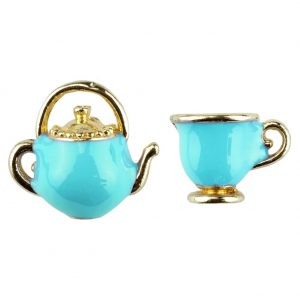 Stud Earring Cup & Teapot Made With Enamel by JOE COOL