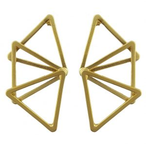 Stud Earring Geometric Overlap Triangle Made With Tin Alloy by JOE COOL
