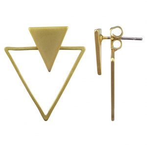Front & Back Earring Geometric Triangle Made With Tin Alloy by JOE COOL