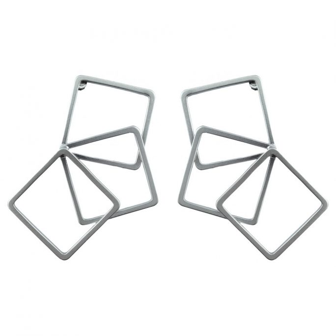 Stud Earring Geometric Overlap Square Made With Tin Alloy by JOE COOL