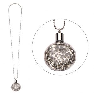 Necklace With A Pendant Stardust Vial Made With Iron & Glass by JOE COOL