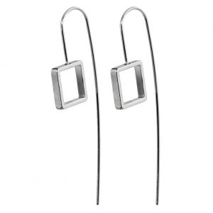 Drop Earring Geometric Tail Square Made With Tin Alloy by JOE COOL