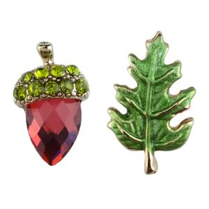 Stud Earring Acorn & Leaf Made With Crystal Glass & Tin Alloy by JOE COOL