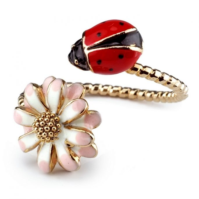 Ring Ladybird & Flower Made With Enamel by JOE COOL