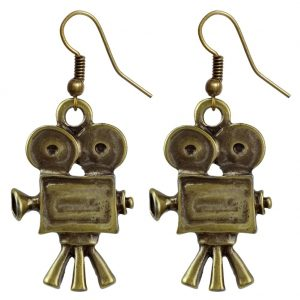 Drop Earring Movie Camera Made With Brass by JOE COOL